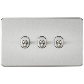 Knightsbridge SF3TOGBC Screwless 10A 3G 2-Way Toggle Switch - Brushed Chrome