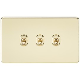 Knightsbridge SF3TOGPB Screwless 10A 3G 2-Way Toggle Switch - Polished Brass