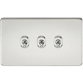 Knightsbridge SF3TOGPC Screwless 10A 3G 2-Way Toggle Switch - Polished Chrome