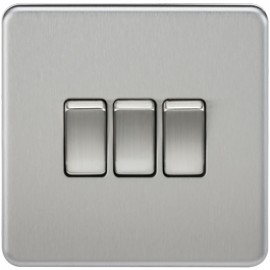 Knightsbridge SF4000BC 10A 3G 2 Way Switch Brushed Chrome