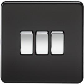 Knightsbridge SF4000MB 10A 3G 2 Way Switch Matt Black
