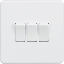 Knightsbridge SF4000MW Screwless 10A 3G 2-Way Switch - Matt White