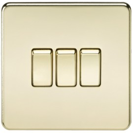 Knightsbridge SF4000PB 10A 3G 2 Way Switch Polished Brass