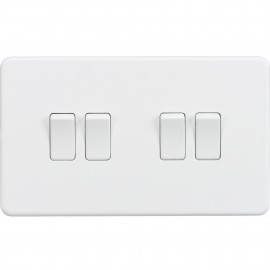 Knightsbridge SF4100MW Screwless 10A 4G 2-Way Switch - Matt White