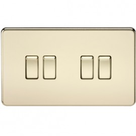 Knightsbridge SF4100PB 10A 4G 2 Way Switch Polished Brass