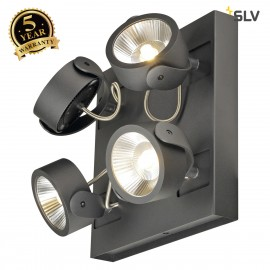 SLV 1000119 KALU LED 4 Wall and Ceiling luminaire, square, black, 3000K, 24°