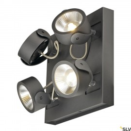 SLV 1000135 KALU LED 4 Wall and Ceiling luminaire, square, black, 3000K, 60°
