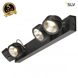 SLV 1000137 KALU LED 4 Wall and Ceiling luminaire, long, black, 3000K, 60°