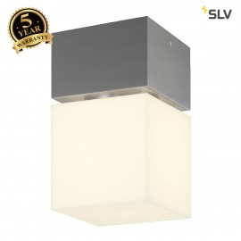 SLV 1000337 SQUARE CEILING, E27, Outdoor Ceiling luminaire, alu brushed, max. 20W, IP44