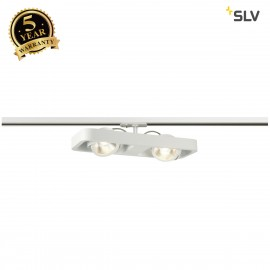 SLV 1000407 LYNAH LED double Spot for 1Phase High-voltage Tracksystem, 3000K, white, 24°, incl. 1 Phase adapter