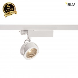 SLV 1000770 KALU LED Spot for 3 Phase High-voltage Tracksystem, 3000K, white/black, 60°, incl. 3 Phase adapter