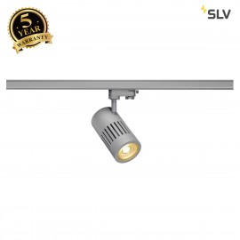 SLV 1000982 STRUCTEC LED Spot for 3 circuit High-voltage Track System, 24W, 3000K, 36°, silvergrey, incl. 3 circuit Adapter