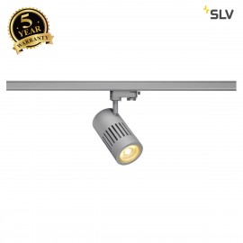 SLV 1000985 STRUCTEC LED Spot for 3 circuit High-voltage Track System, 24W, 3000K, 60°, silvergrey, incl. 3 circuit Adapter