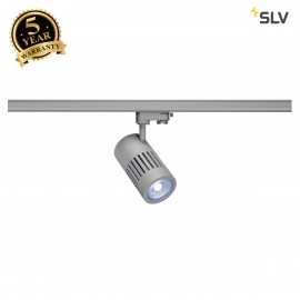 SLV 1000988 STRUCTEC LED Spot for 3 circuit High-voltage Track System, 24W, 4000K, 36°, silvergrey, incl. 3 circuit Adapter