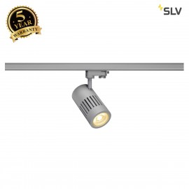SLV 1000997 STRUCTEC LED Spot for 3 circuit High-voltage Track System, 30W, 3000K, 60°, silvergrey, incl. 3 circuit Adapter