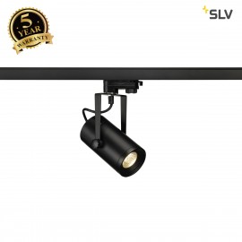 SLV 1001367 EURO SPOT LED, small, 9W COB LED, black, 36°, 3000K, incl. 3-circuit adapter