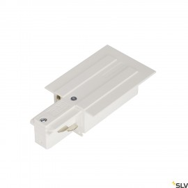 SLV 1001533 EUTRAC feed-in for 3-circuit recessed track, traffic white, earth left