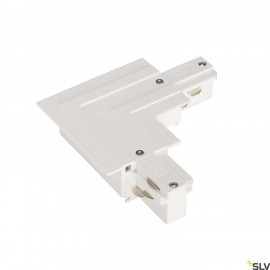 SLV 1001536 EUTRAC L-connector for 3-circuit recessed track, traffic white, earth outside