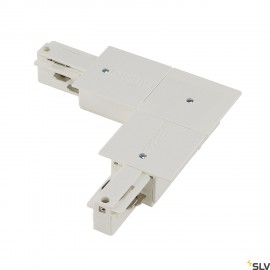 SLV 1001537 EUTRAC L-connector for 3-circuit recessed track, traffic white, earth inside