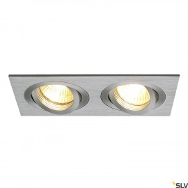 SLV 111362 NEW TRIA II GU10 downlight,rectangular, alu brushed, max.2x50W, incl. clip springs
