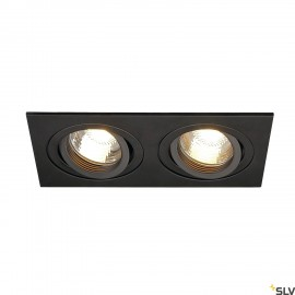 SLV 113492 NEW TRIA II GU10 downlight,rectangular, matt black, max.2x50W, incl. clip springs