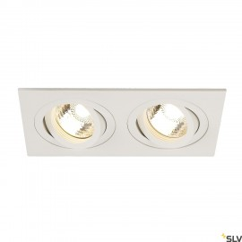 SLV 113512 NEW TRIA II GU10 downlight,rectangular, matt white, max.2x50W, incl. clip springs