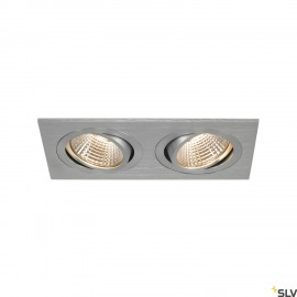 SLV 113896 NEW TRIA 2 DL SQUARE SET, alubrushed, 2x 6W, 38°, 2700K,incl. driver, clip springs