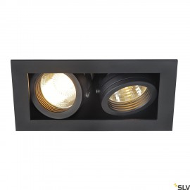 SLV 115520 KADUX 2 GU10 downlight, square, matt black, max. 2x50W