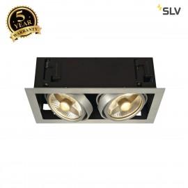 SLV 115556 KADUX 2 ES111 downlight,square , alu brushed, max.2x50W