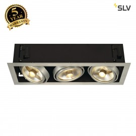 SLV 115566 KADUX 3 ES111 downlight,square , alu brushed, max.3x50W