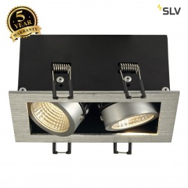 SLV 115716 KADUX LED DL SET, rectangular,alu brushed, 2x 9W, 38°,3000K, incl. driver