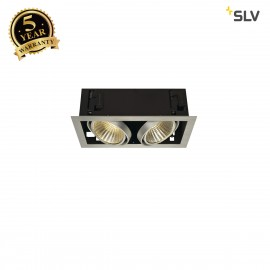 SLV 115746 KADUX LED DL SET XL, square,alu brushed, 2x 24W, 30°,3000K, incl. driver
