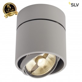 SLV 117164 KARDAMOD SURFACE ROUND ES111SINGLE ceiling light, round,silver-grey, GU10, max. 75W