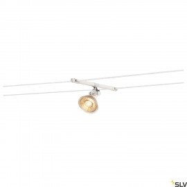 SLV 139091 COSMIC, lamp holder for TENSEO low-voltage cable system, QR-C51, white, tiltable, 2 pcs