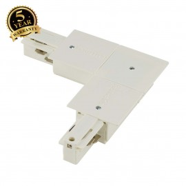 SLV 145751 EUTRAC L-connector for 3-circuit recessed track, white,inner earth