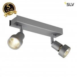 SLV 147374 PURI 2 ceiling light,silver-grey, 2x GU10, max. 2x50W, incl. deco ring