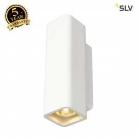 SLV 148015 PLASTRA wall light, WL-1,square, white plaster, 2xGU10,max.35W