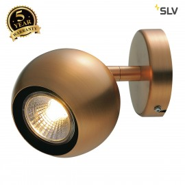 SLV 149069 LIGHT EYE 1 GU10 wall andceiling light, copper, QPAR51,max. 50W