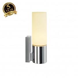 SLV 151542 DEVIN SINGLE wall light, E14,round, chrome, frosted glass,E14, max. 12W, IP44