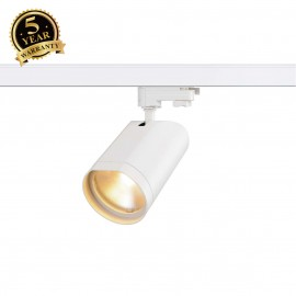 SLV 152991 BILAS SPOT 25° LED, round,matt white, 15W COB LED, 2700K, incl. 3-circuit adapter
