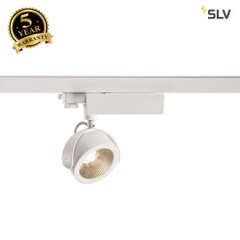 SLV 153601 KALU LED Spot for 3 Phase High-voltage Tracksystem, 3000K, white/black, 24°, incl. 3 Phase adapter
