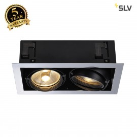 SLV 154612 AIXLIGHT FLAT DOUBLE ES111recessed ceiling light,chrome/black, 2xGU10,max.2x75W