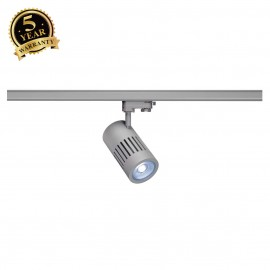SLV 1000988 STRUCTEC LED Spot for 3 Phase High-voltage Tracksystem, 24W, 4000K, 36°, silvergrey, incl. 3 Phasen Adapter