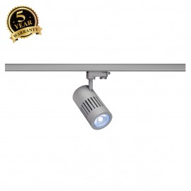 SLV 1000991 STRUCTEC LED Spot for 3 Phase High-voltage Tracksystem, 24W, 4000K, 60°, silvergrey, incl. 3 Phasen Adapter