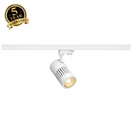 SLV 1000993 STRUCTEC LED Spot for 3 Phase High-voltage Tracksystem, 30W, 3000K, 36°, white, incl. 3 Phasen Adapter