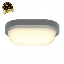 SLV 229934 TERANG 2 wall and ceilinglight, oval, silver-grey, 11WLED, 3000K, IP44