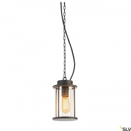 SLV 232065 PHOTONIA E27, Outdoor Pendant luminaire, anthracite, incl. 5m chain and feed-in with open cable end, max.60W, IP44