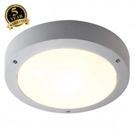 SLV 232424 DRAGAN SENSOR wall and ceilinglight, silver-grey, E27, max.2x 24W, IP44, with sensor