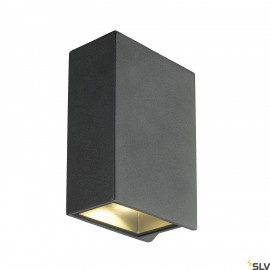 SLV 232445 QUAD 2 XL wall light, square,anthracite, 2x 3.2W COB LED,3000K, IP44, up/down