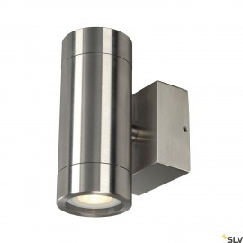 SLV 233302 ASTINA STEEL GU10 wall light,round, stainless steel 304, 2x35W max., IP44